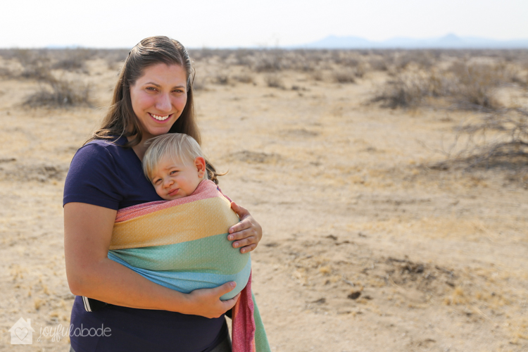 why is desert living great - mother and son babywearing in wrap conversion ring sling-4