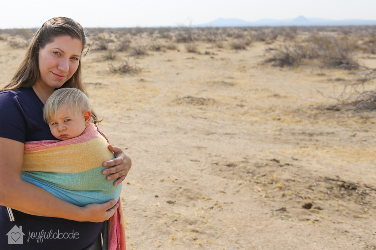 lucky to be living in the desert - mother and son babywearing in wrap conversion ring sling