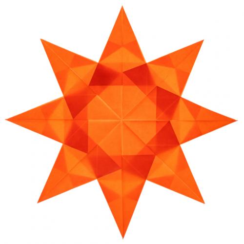 orange kite paper window star with 8 points