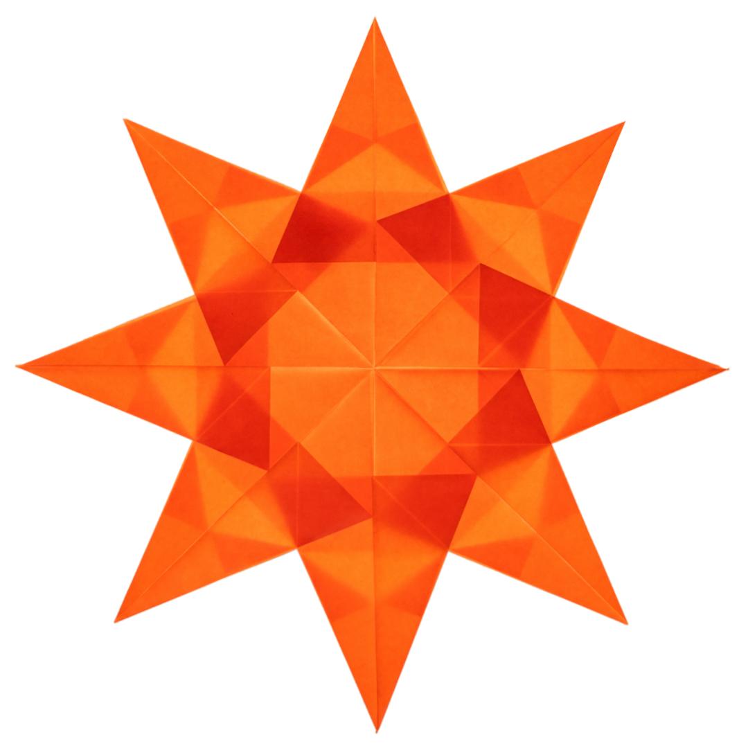 orange folded kite paper window star with 8 points