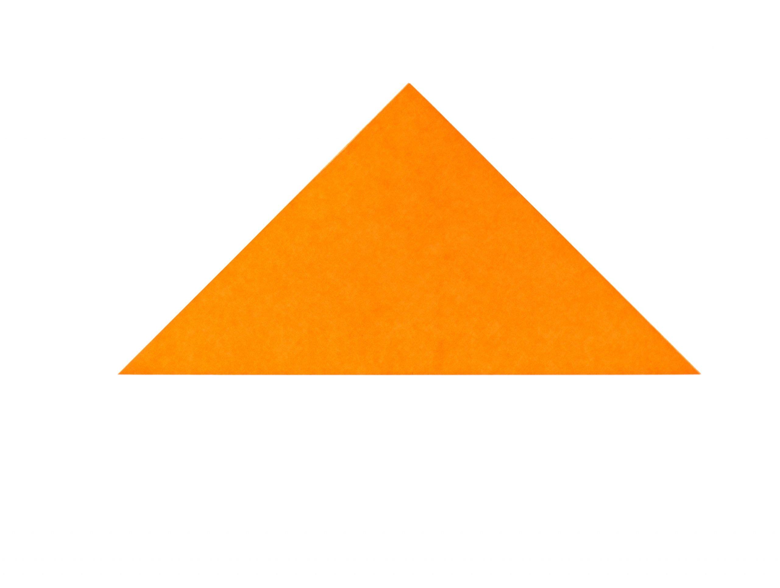 orange paper square folded in half
