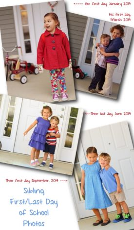 sibling first and last day of school photos