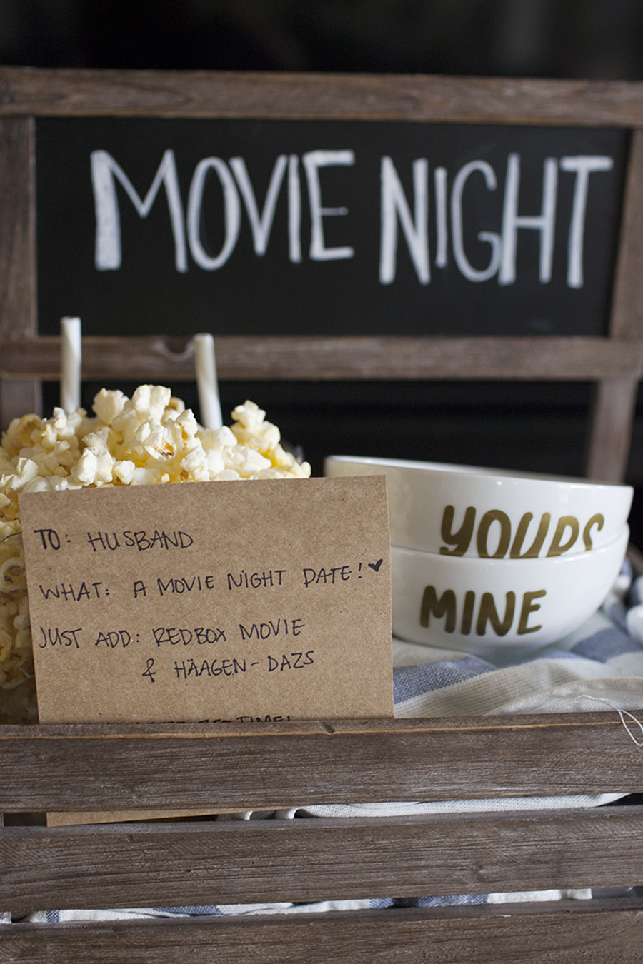 movie night valentine's day kit for date