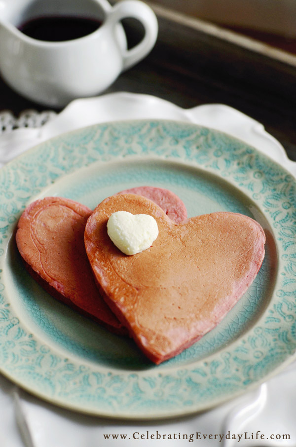 pink pancake valentines day breakfast