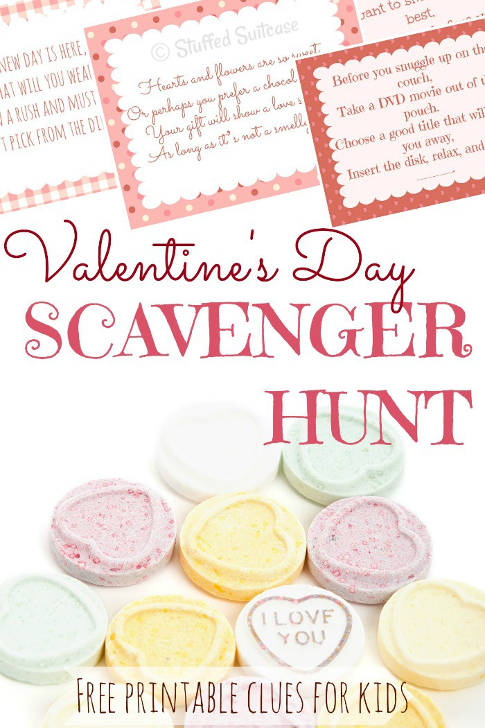 valentine's day scavenger hunt with printable clues