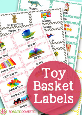 toy basket labels printables - 4 different colors/designs, 3 pre-filled page and 1 blank page for each color