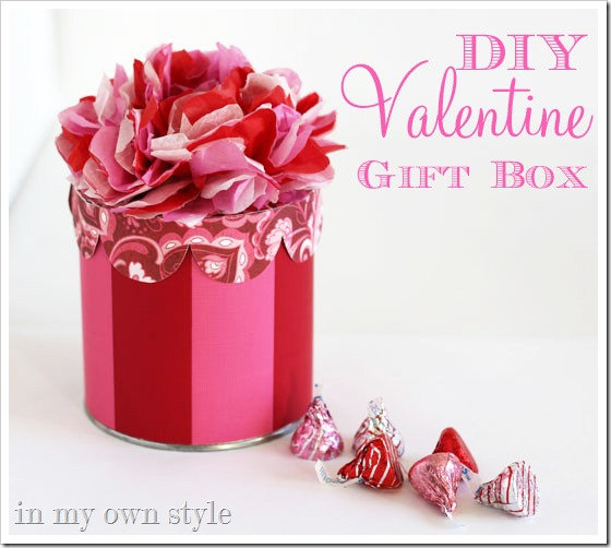 valentine gift boxes with tissue flower