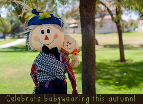Autumn Crafts and Decor – Dish Towel Aprons, Fall Matching Game, Babywearing Scarecrow