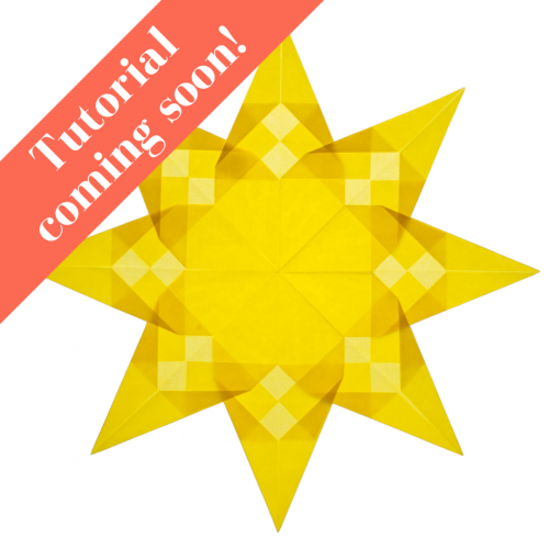 yellow beautiful paper window star with 8 points